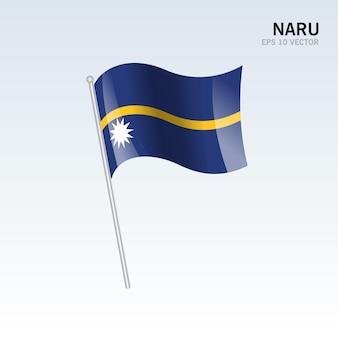 Nauru macha flagą na szarym tle