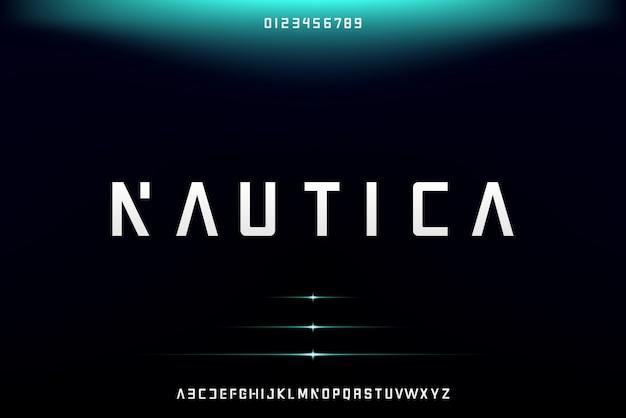 Nautica, abstrakcyjna futurystyczna czcionka alfabetu z motywem technologicznym. nowoczesny minimalistyczny projekt typografii