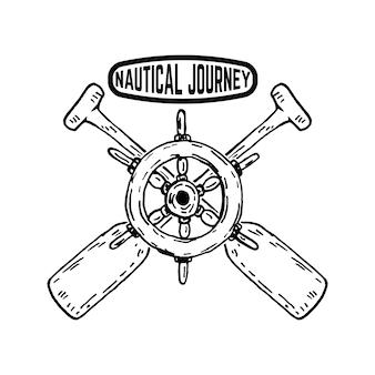 Nautical travel emblemat z kierownicą statku ze skrzyżowanymi łopatkami