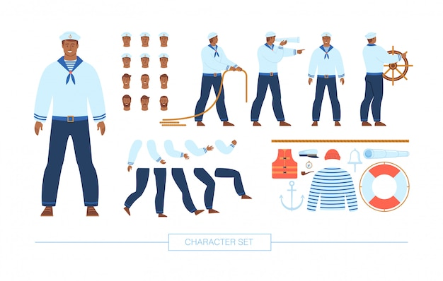 Navy sailor character constructor flat set