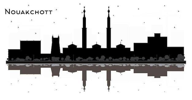 Nawakszut mauretania panoramę miasta czarno-białą sylwetkę z ilustracją odbić
