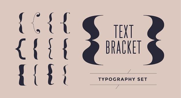 Nawias, szelki, nawiasy. typografia zestaw nawiasów klamrowych