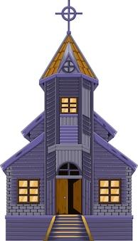 Nawiedzony budynek kościoła na białym tle
