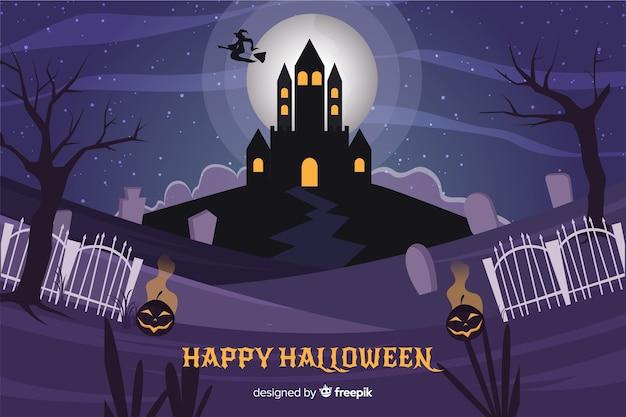Nawiedzony dom halloween na tle pełni księżyca