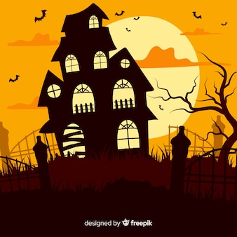 Nawiedzony dom halloween o zmierzchu