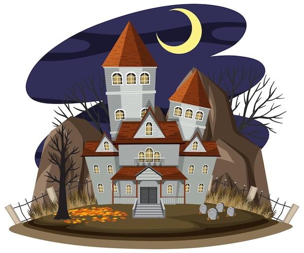 Nawiedzony dom w nocnej scenie