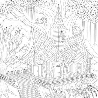 Nawiedzony dom, wesołego halloween. ilustracja