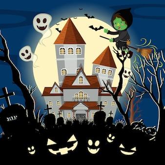 Nawiedzony dwór halloween w nocy