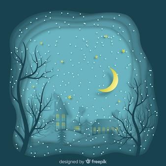 Nawiedzony zimowy noc tło