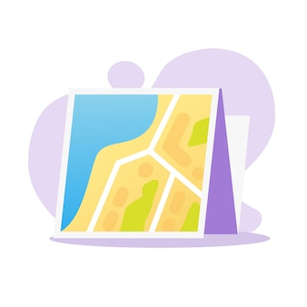 Nawigaci mapy papieru kreskówki płaska ilustracja odizolowywająca