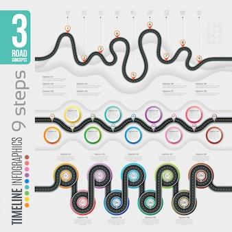 Nawigacja 9 kroków infografiki osi czasu