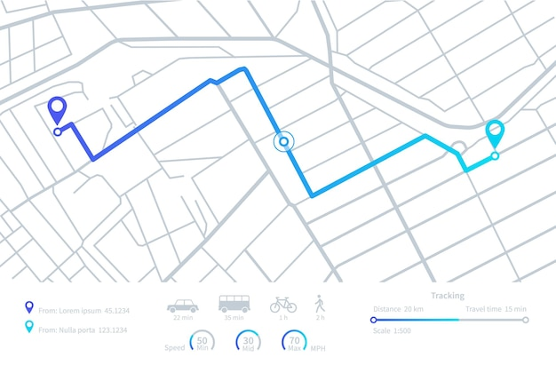 Nawigacja gps. planowanie tras. mobilna mapa nawigacyjna z lokalizacją ulic miasta. śledzenie odległości. wektor elementów interfejsu pulpitu nawigacyjnego. ilustracja drogowa trasa gps, interfejs mapy drogowej odległość