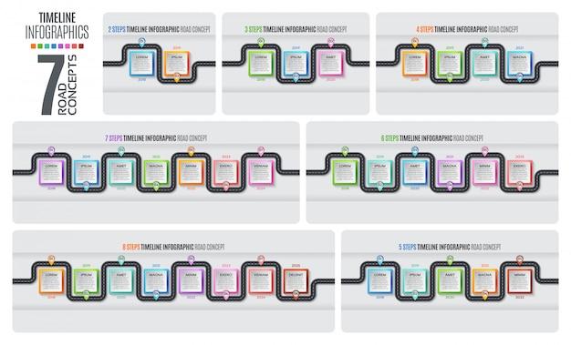 Nawigacja mapa infografika osi czasu koncepcji