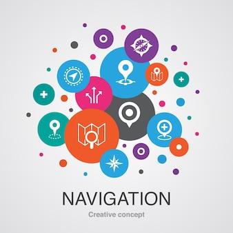 Nawigacja modna koncepcja projektowania bańki interfejsu użytkownika z prostymi ikonami. zawiera takie elementy jak lokalizacja, mapa, gps, kierunek i inne