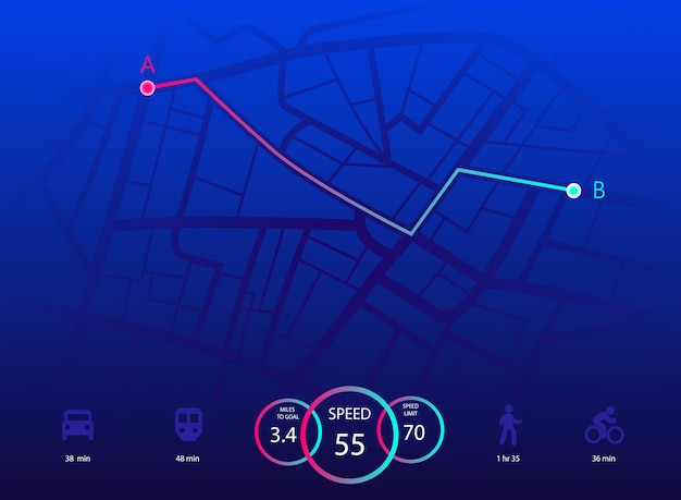 Nawigacja na mapie miasta.