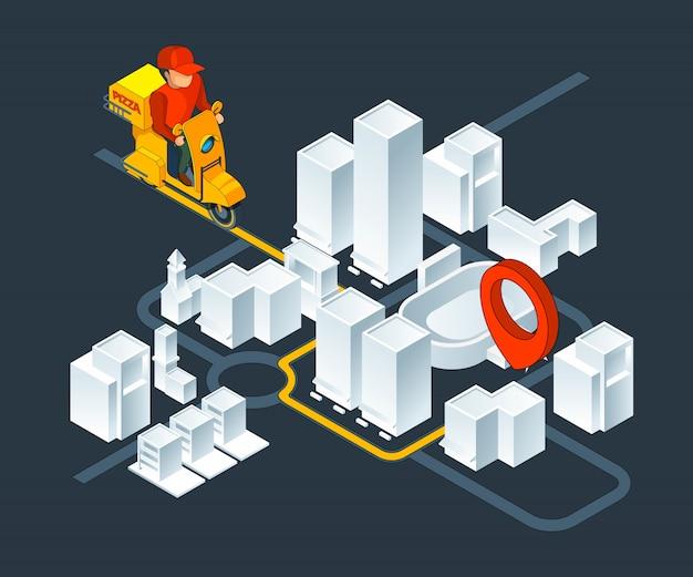 Nawigacja po izometrycznych mapach miejskich. mapa izometryczna z trasą dostawy pizzy