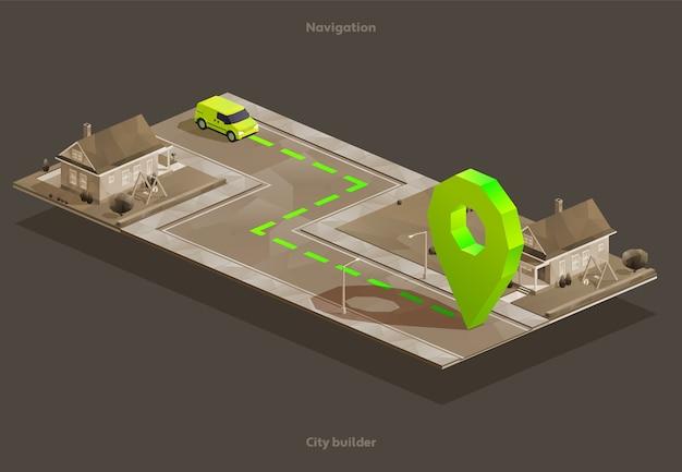 Nawigacja samochodowa gps na izometrycznej mapie miasta do domu z pinem