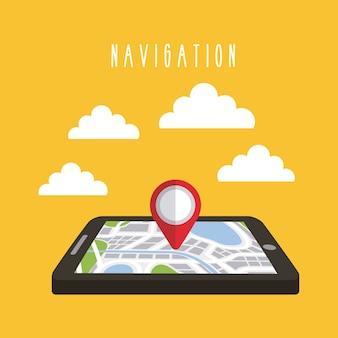 Nawigacyjne chmury gps technologii tabletu