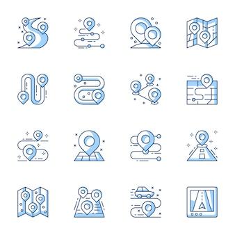 Nawigator gps, geo tag liniowy wektor zestaw ikon.