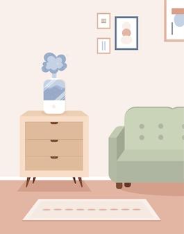 Nawilżacz powietrza w skandynawskim wnętrzu salonu minimalistyczne wnętrze w stylu boho