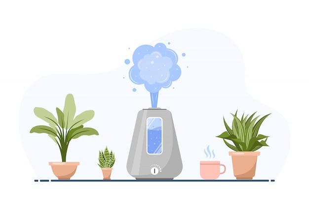 Nawilżacz z roślinami domowymi. sprzęt do domu lub biura. ultradźwiękowy oczyszczacz powietrza we wnętrzu. urządzenie do czyszczenia i nawilżania. nowoczesna ilustracja w stylu cartoon.