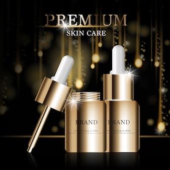 Nawilżająca pielęgnacja skóry twarzy na coroczną wyprzedaż lub wyprzedaż festiwalową srebrno-brązowa kremowa butelka na maskę na białym tle