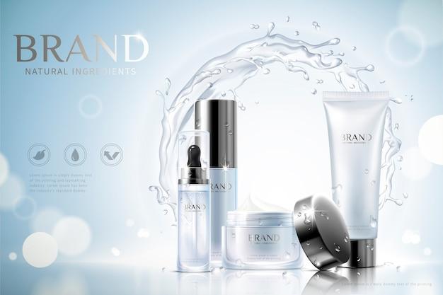 Nawilżające reklamy produktów do pielęgnacji skóry z pojemnikami i efektem wirującej wody na błyszczącym niebieskim tle, ilustracja 3d