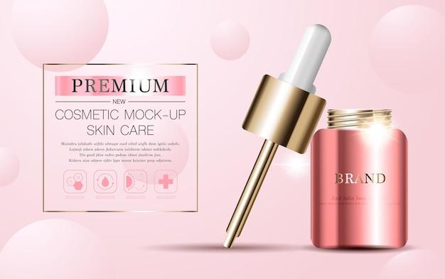Nawilżające serum do twarzy do rocznej sprzedaży lub sprzedaży festiwalowej różowa i złota butelka z maską na serum na białym tle