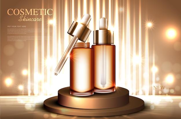 Nawilżające serum do twarzy do rocznej sprzedaży lub wyprzedaży festiwalowej izolowana srebrna i złota butelka z serum na serum
