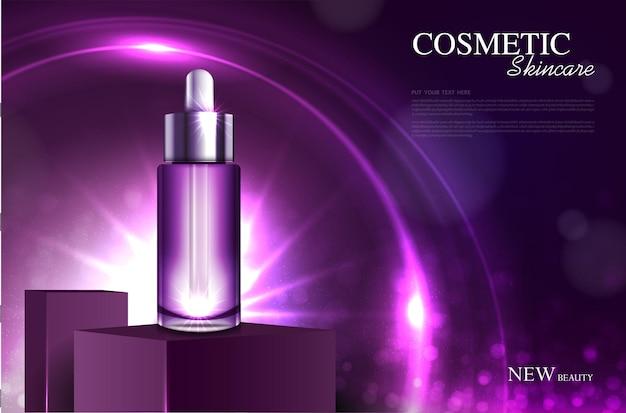 Nawilżające serum do twarzy do rocznej sprzedaży lub wyprzedaży festiwalowej srebrna i fioletowa butelka na maskę z serum