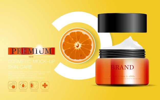 Nawilżający krem do twarzy na coroczną wyprzedaż lub wyprzedaż festiwalową srebrna i pomarańczowa butelka z kremem na maskę