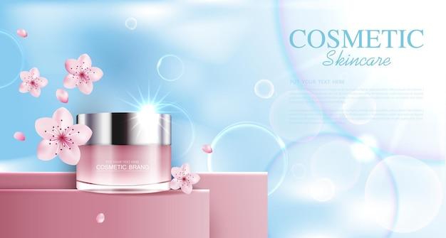 Nawilżający krem do twarzy sakura na coroczną wyprzedaż lub sprzedaż festiwalową różowa kremowa butelka na maskę na białym tle