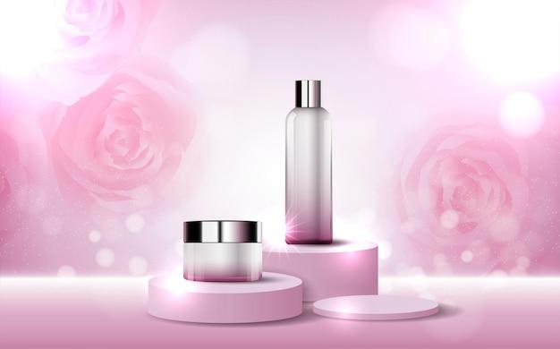 Nawilżający krem do twarzy z różą na coroczną wyprzedaż lub wyprzedaż festiwalową czerwoną srebrną kremową butelkę na maseczkę na białym tle