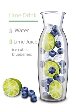 Nawilżający napój detoks wody. smak borówki i limonki. realistyczny świeży napój w szklanym słoju