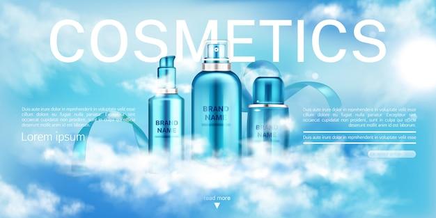 Nawilżający szablon reklamy kosmetycznej.