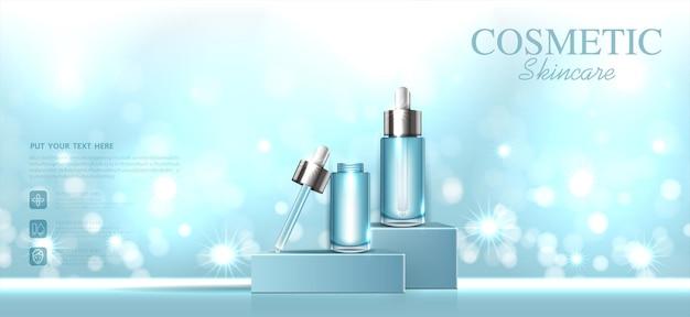 Nawilżający zestaw do pielęgnacji skóry twarzy na coroczną wyprzedaż lub wyprzedaż festiwalową srebrną butelkę z kremową maską na białym tle