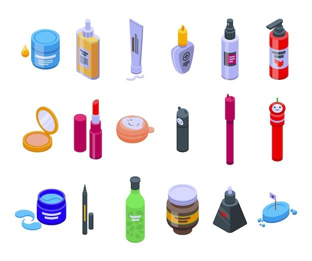 Nazwa ikony zestaw izometryczny wektor. pielęgnacja aloesu. kosmetyki bio awokado