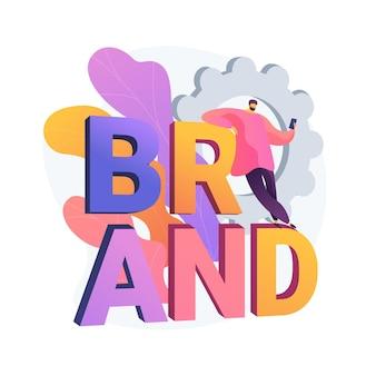 Nazwa marki abstrakcyjna koncepcja ilustracji wektorowych. agencja nazewnicza, system identyfikacji marki, usługa brandingu, wprowadzenie nowego produktu, generowanie nazwy, abstrakcyjna metafora kreatywnego pozycjonowania marketingowego.