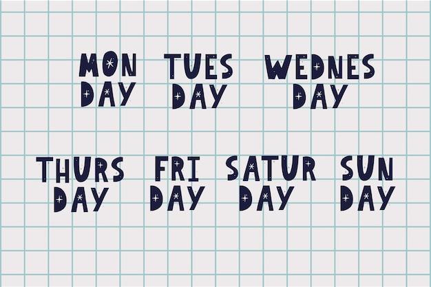 Nazwy dni tygodnia vintage grunge typograficzny nierówny styl stempla napis do kalendarza