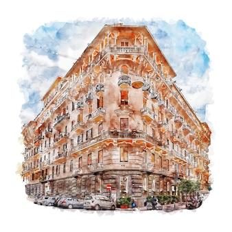 Neapol, kampania, włochy szkic akwarela ilustracja