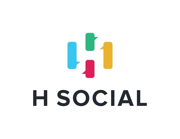 Negatywna litera h z bańką czatu prosty elegancki kreatywny geometryczny nowoczesny projekt logo