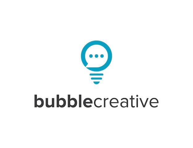 Negatywna przestrzeń czatowa bańka z żarówką prosta, elegancka, kreatywna, geometryczna, nowoczesna konstrukcja logo