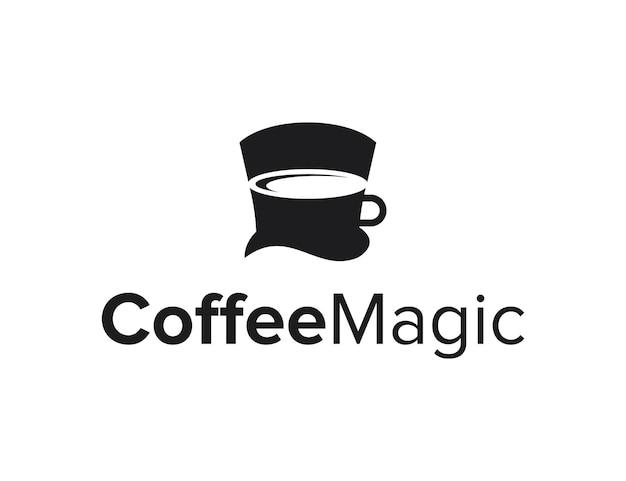 Negatywna przestrzeń filiżanka kawy z kapeluszem maga prosty kreatywny geometryczny nowoczesny projekt logo