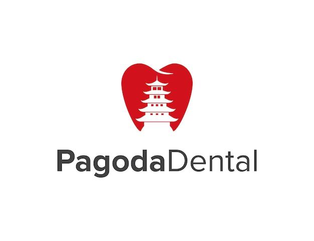Negatywna przestrzeń pagoda i ząb stomatologiczny prosty elegancki kreatywny geometryczny nowoczesny projekt logo