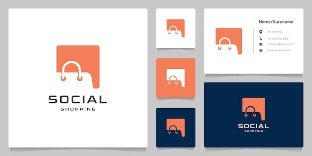 Negatywna przestrzeń projekt logo torby na zakupy z wizytówką