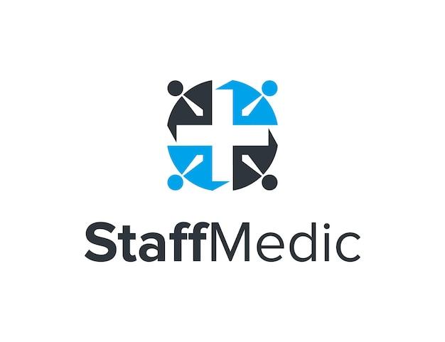 Negatywna przestrzeń symbol medyczny i pracownicy ludzie prosty elegancki kreatywny geometryczny nowoczesny projekt logo