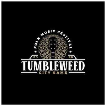 Negatywna przestrzeń tumbleweed gitara country music western vintage retro saloon bar cowboy projektowanie logo