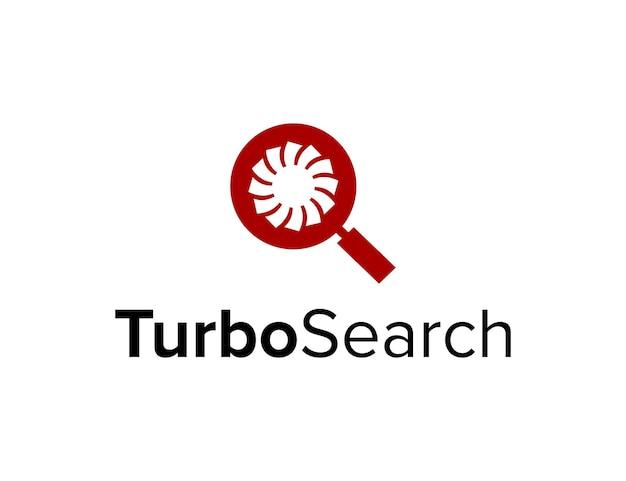 Negatywna przestrzeń turbo i szkło powiększające proste, eleganckie, kreatywne, geometryczne, nowoczesne projektowanie logo