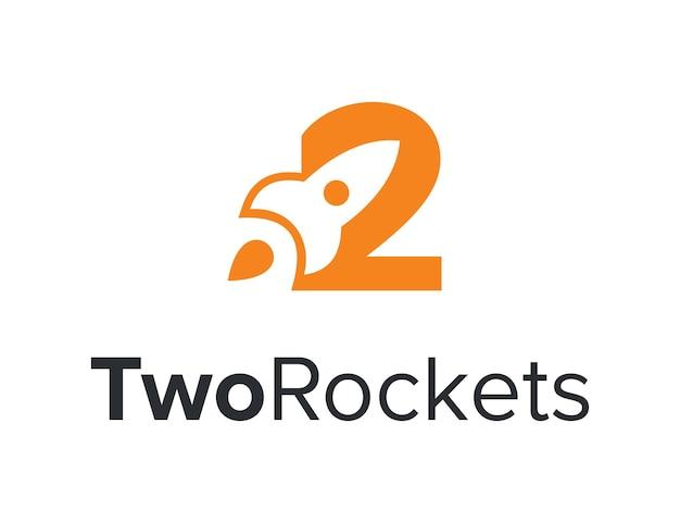 Negatywna rakieta kosmiczna wystrzelona w numer dwa prosty, elegancki, unikalny nowoczesny wektor projektowania logo