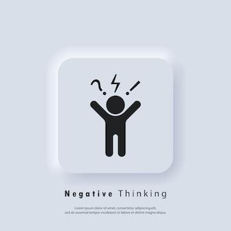 Negatywne myślenie ikona logo. złe opinie, niezadowolony klient, trudny klient, niska jakość usług. klient zły i zły nastrój, negatywne zachowanie klienta.